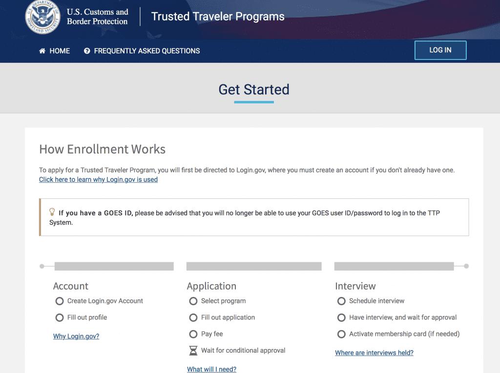 Trusted traveler homepage