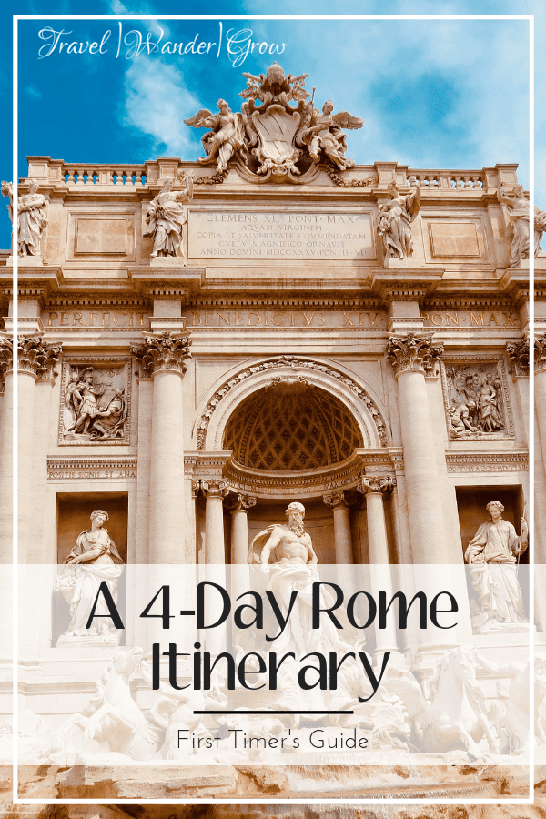 Heading to Rome soon? This four-day Rome itinerary provides travel tips on the best things to do in the city. Learn a little of the history of Rome by experiencing sites such as the Spanish Steps, the Coliseum, the Pantheon, and more. Learn about the best restaurants in the city so that you can eat your fill of pasta and tiramisu. Learn why the eternal city is one of the best in the world. #rometravelguide #romeitinerary