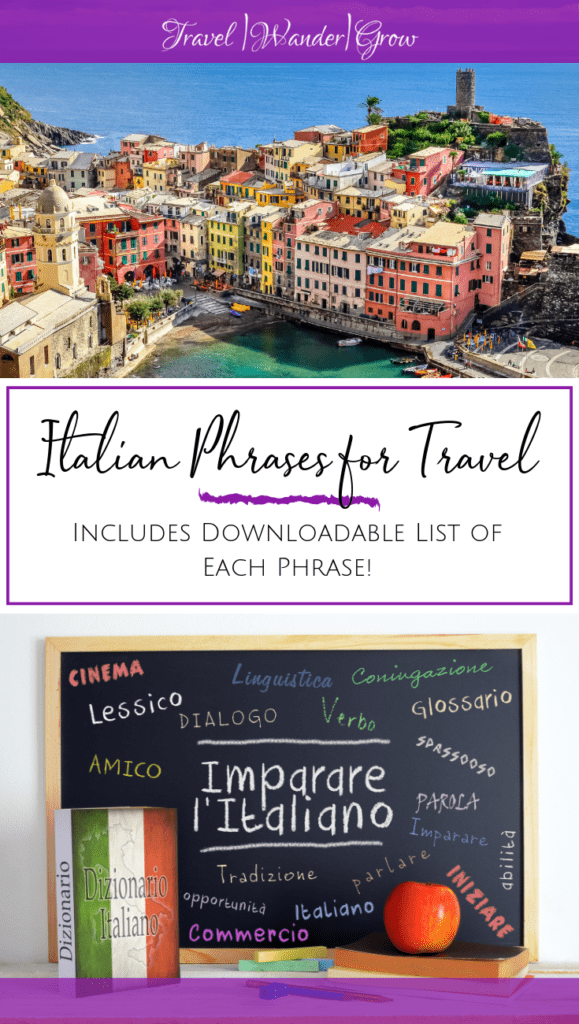 Italian is one of the most beautiful languages as it sounds almost like singing as it roles off the tongue. This guide provides a list of Italian phrases for travel that you can use on your next trip to the beautiful country of Italy. Get the best Italian language learning tips, plus this guide comes with a printable of all the Italian phrases you need to get around in Italy. #italianlanguagelearning