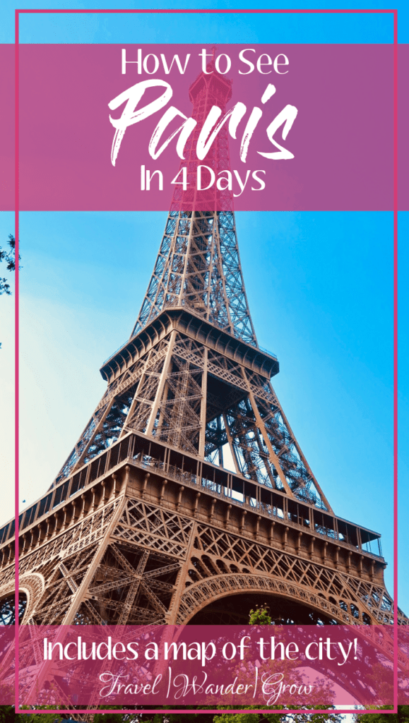 Looking for things to do in Paris? This travel guide has you covered! Get tips on what food to try, which hotels to stay in, and what activities to do in this amazingly romantic city. This four day itinerary will help you plan the perfect vacation, and see beautiful sites like the Lourve, the Eiffel Tower, and Notre Dame. This is the perfect guide for first time visitors as it also includes a city map! #parisitinerary #paristravelguide