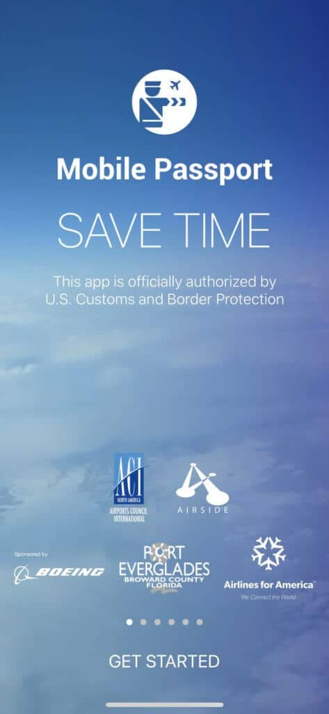 Mobile Passport landing page on iphone
