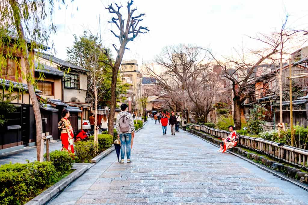 Old city street in Kyoto