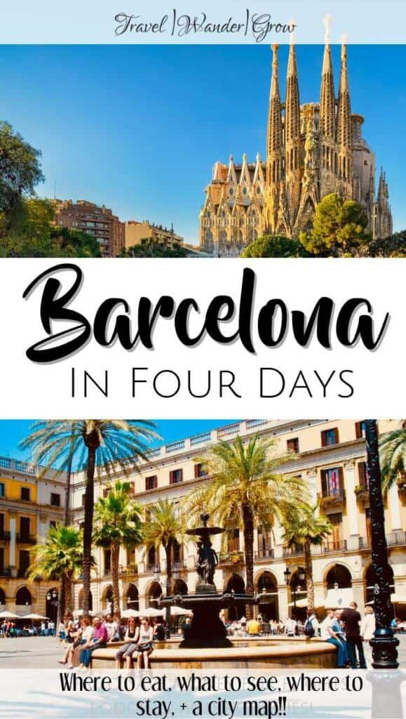 Interested in visiting Barcelona? This post will give you the best things to do in Barcelona all in a four-day itinerary. Get tips on which landmarks to visit, such as Park Guell, La Sagrada Familia, and the Gothic Quarter of the city. Get tips on where to go shopping, how to see the beach, and which restaurants to eat at in this amazing city. See mount Tibidabo, Passeig De Gracia, and more! This guide comes complete with a city map, so you won't get lost on your visit! #barcelonatravelguide