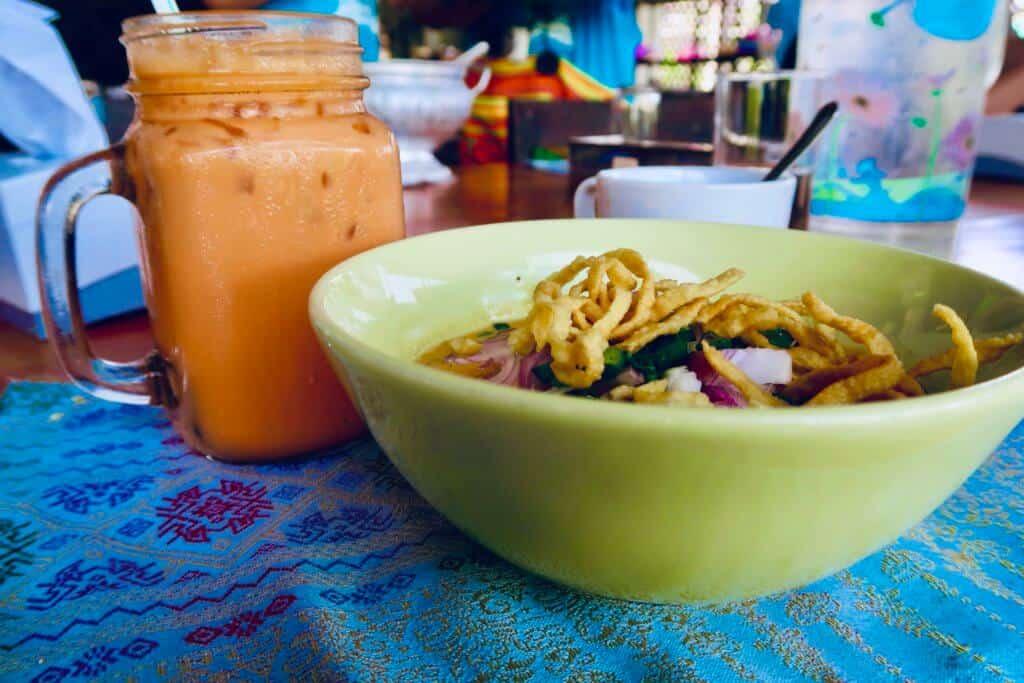 Khao Soy and Thai Iced Tea