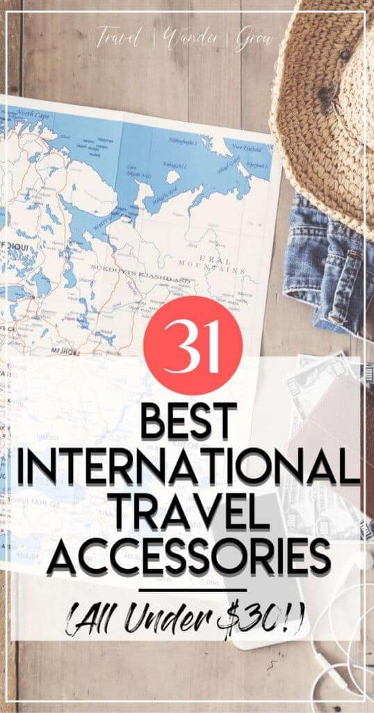 To prepare for your next trip abroad, you need to make sure that you pack a several key items. Check out this list of the top 25 international travel accessories. Including the best adapters, passport cases, packing cubes, unique electronics and more! The best part is that they are all $30 or less, so won't break the budget! #internationaltravelaccessories #besttravelaccessories