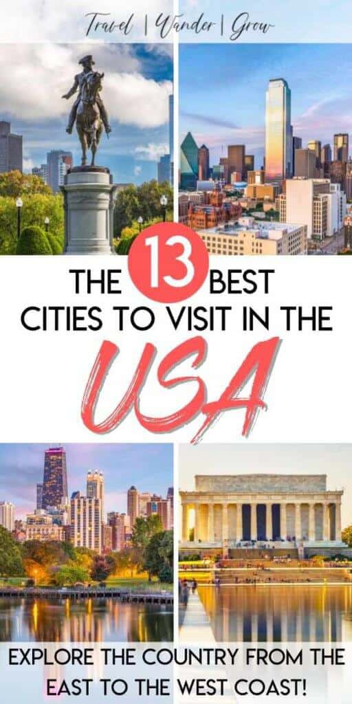 The US is full of a diverse set of people, cultures, and landscapes. For this reason, it is possible to experience so much variety when visiting cities across the country. This post provides a list of the 13 best US cities to visit, and provides tips on what to see and what to eat on your visit to each. This post includes details on cities such as Boston, NYC, Los Angeles and more! Hit all the cities on your bucket list alone, with groups, or with kids and have a wonderful time doing it. #bestuscitiestovisit #usatravel
