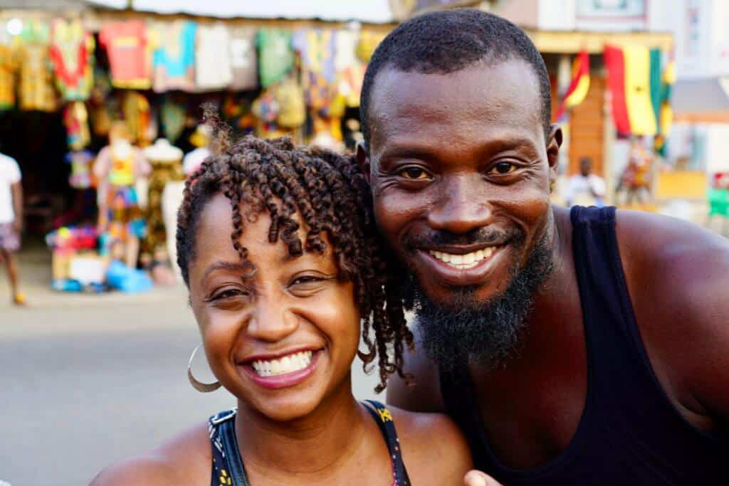Woman and man on Oxford Street in Osu
