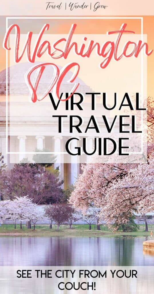 This virtual travel guide provides a detailed list of museums, monuments, and experiences that you can have in Washington DC virtually. Set aside a virtual vacation day to do this Washington, DC Travel Guide right. #virtualvacationguide